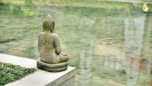 buddha grün am wasser